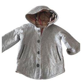 Burberry-Coats Outerwear-Grey