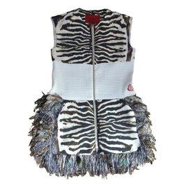Moncler-Robes MONCLER ROUGE-Imprimé Zèbre