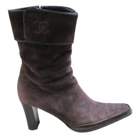 Chanel-Bottines-Marron