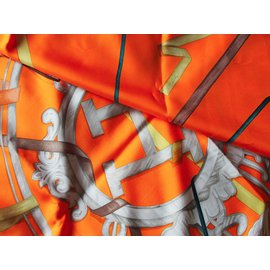 Hermès-Silk scarves-Orange
