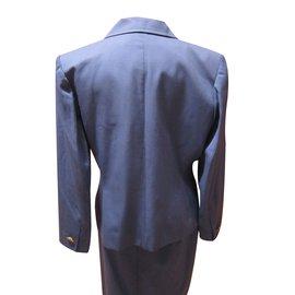 Yves Saint Laurent-Tailleur jupe-Bleu