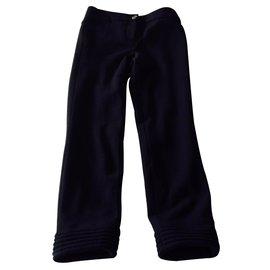 Chanel-Pantalon laine noire-Noir