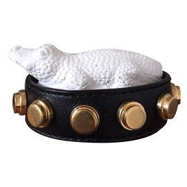 Saint Laurent-Bracelet cuir-Noir