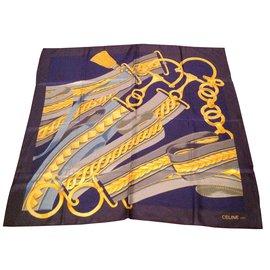 Céline-Silk scarves-Blue
