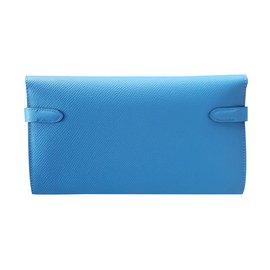Hermès-portefeuille Kelly-Bleu