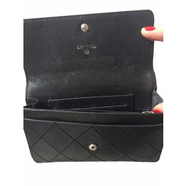 Chanel-Portefeuilles cuir noir-Noir