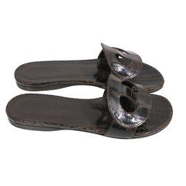 Hermès-Sandals-Ebony