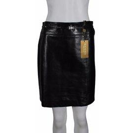 Gucci-Jupe cuir-Noir