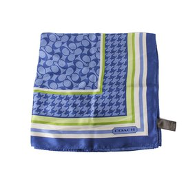 Coach-Silk scarves-White,Blue,Green