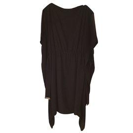 Hermès-Robe Hermès noir en soie-Noir