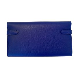 Hermès-Hermes Kelly Long Wallet Electric Blue Epsom Leather with Palladium Hardware-Blue