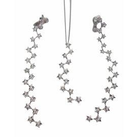Chanel-Parure boucles d'oreilles et pendentif chanel comete-Blanc