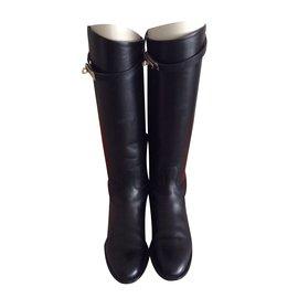 Hermès-Paire de bottes Jumping-Noir