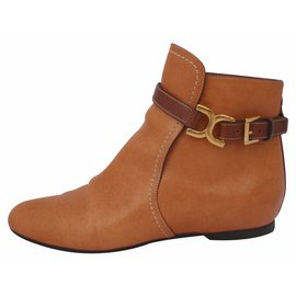 Chloé-Chloe leather ankle boots-Orange