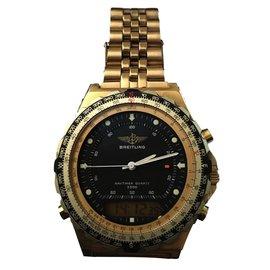 Breitling-Breitling Navitimer Quartz OR jupiter pluton 3300 homme vintage-Doré