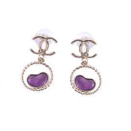Chanel-Drop and dangle purple hearts-Purple