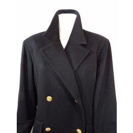 Hermès-Manteau en cachemire-Noir