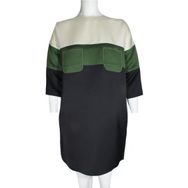 Céline-Dress-Black,Green,Cream