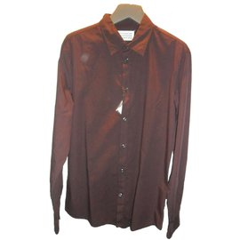 Maison Martin Margiela-Maison martin margiela men's slim fit popeline cotton shirt size eu 52, us 16-Dark red