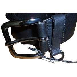 "Karl Lagerfeld-Karl lagerfeld men's black leather belt nwt sz. 105cm 40"" made in italy-Black"