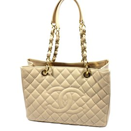 Chanel-Shopping bag caviar-Beige