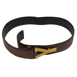 Yves Saint Laurent-Ceinture Y-Marron