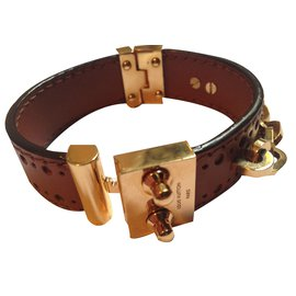 Louis Vuitton-Bracelet Louis Vuitton cuir et or-Marron