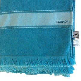 Hermès-Drap de plage turquoise-Bleu