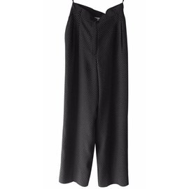 """Yves Saint Laurent-Pantalon large & taille haute """"ysl"""" vintage-Noir"""