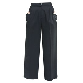Chanel-The perfect year-round chanel pants vintage 90s black wool/silk high-waist trousers-Black