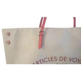Louis Vuitton-Cabas en toile écru et cuir corail-Beige