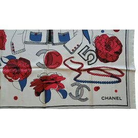 Chanel-Silk scarf-Beige