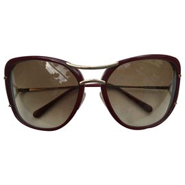 Céline-bordeaux oversized sunglasses-Red