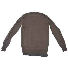 Maison Martin Margiela-Maison Martin Margiela Lana wool double layered V neck Jumper-Brown