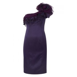 Temperley London-TEMPERLEY LONDON FIESTA ONE SHOULDER SATEEN DRESS-Purple