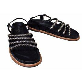 Chanel-Chain Sandals-Blue