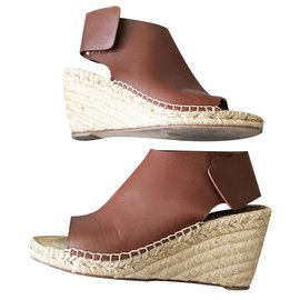 Céline-Celine Wedge Sandals in Brown Calfskin-Brown