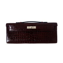 Hermès-Clutch bags-Dark red