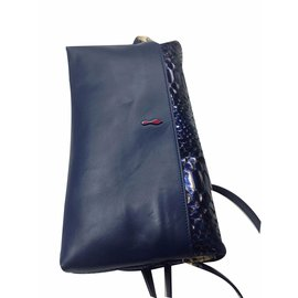 Christian Louboutin-Rougissime Python Clutch Bag-Bleu