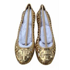 0bf9a98fb Tory Burch-TORY BURCH GOLD Brand Huarache Logo Ballet Metallic Woven  Leather Flats-Metallic ...