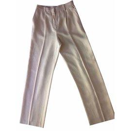 Hermès-Pantalon droit à pinces Hermès-Blanc cassé