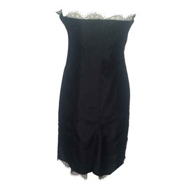 Yves Saint Laurent-robe bustier en dentelle noire-Noir