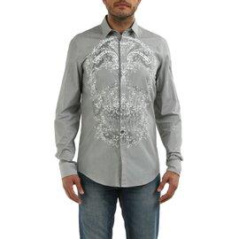 Just Cavalli-Just cavalli men's casual fashion shirt skullt print gray color-Grey