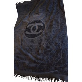 Chanel-Grand drap de plage chanel coton noir velours éponge cc-Noir