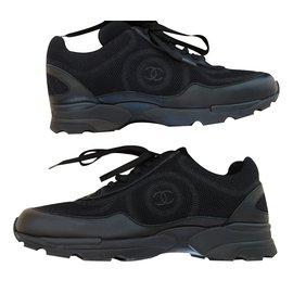 ... Chanel-sneaker cuir et tissu CHANEL noir 39.5-Noir f5f69f33fe8
