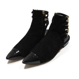 Chanel-Boots plats-Noir