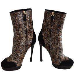 Yves Saint Laurent-Boots Python Suede Black-Imprimé python