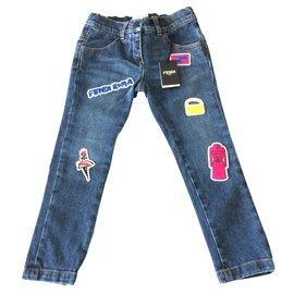Fendi-Pantalon fille-Bleu