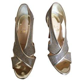 Christian Louboutin-Mamma Roma 120 glitter lum/nappa Gold-Golden