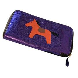 Hermès-Hermes leather wallet-Purple